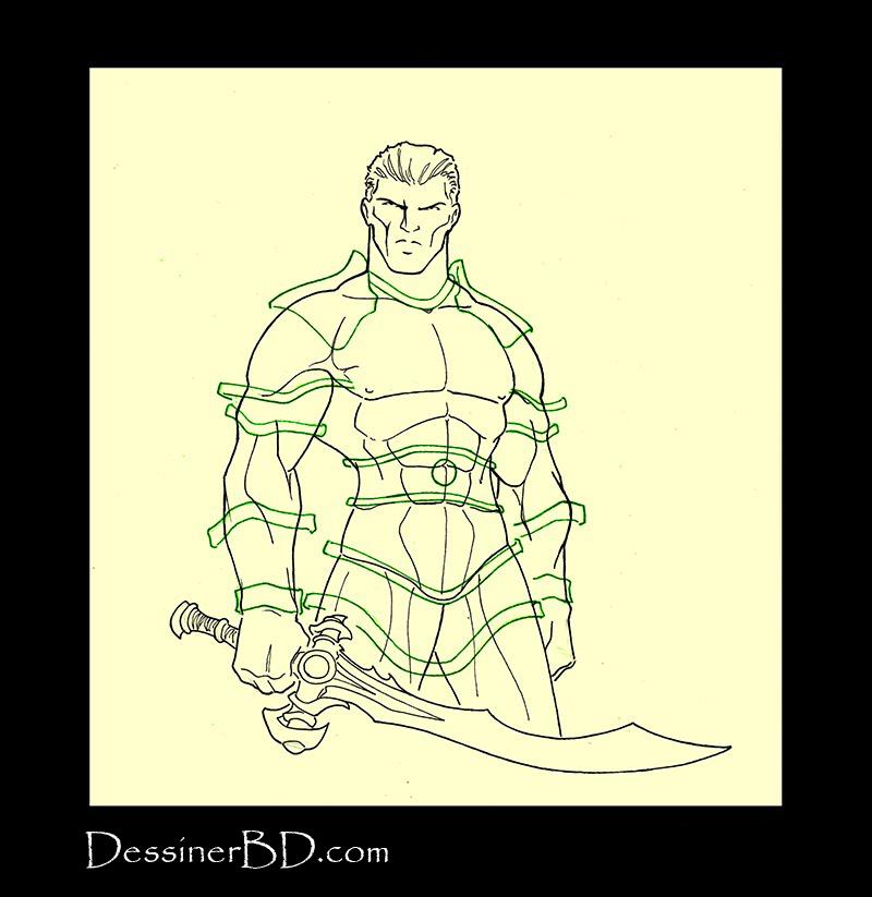 Armure mailles lourde étape 2 crayonné