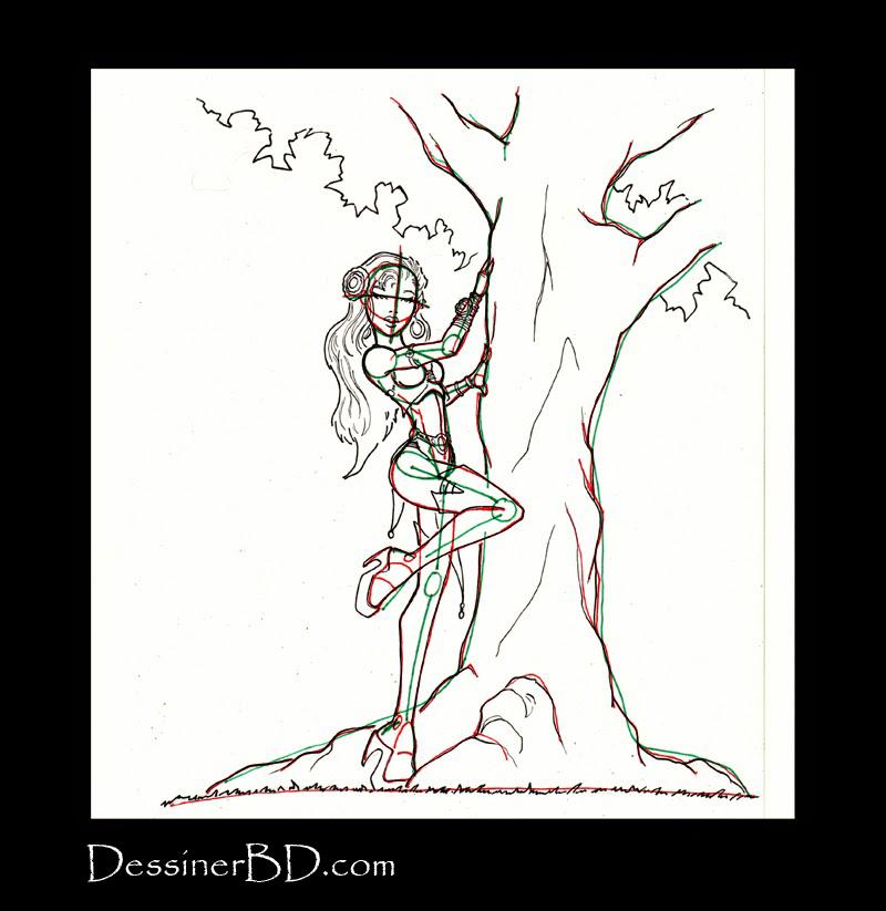 comment dessiner détails dryade et arbre