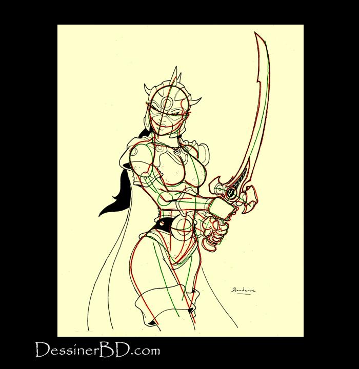 dessiner armure heaume détails guerrière