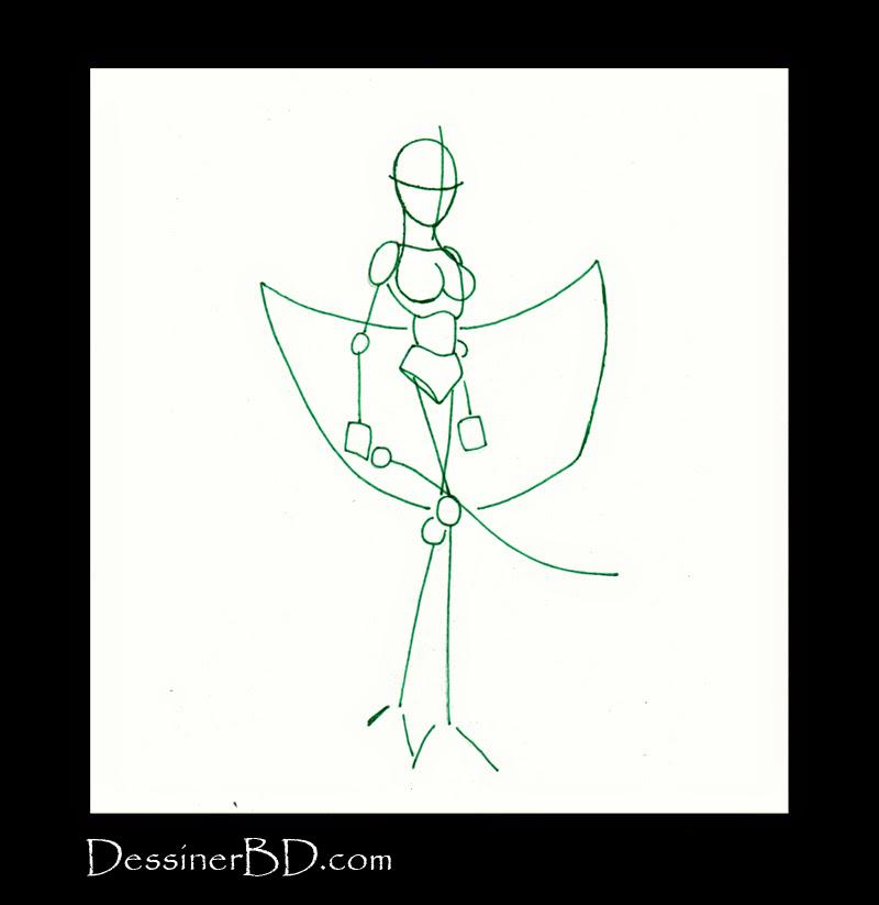 comment dessiner guerrière elfe noire charpente