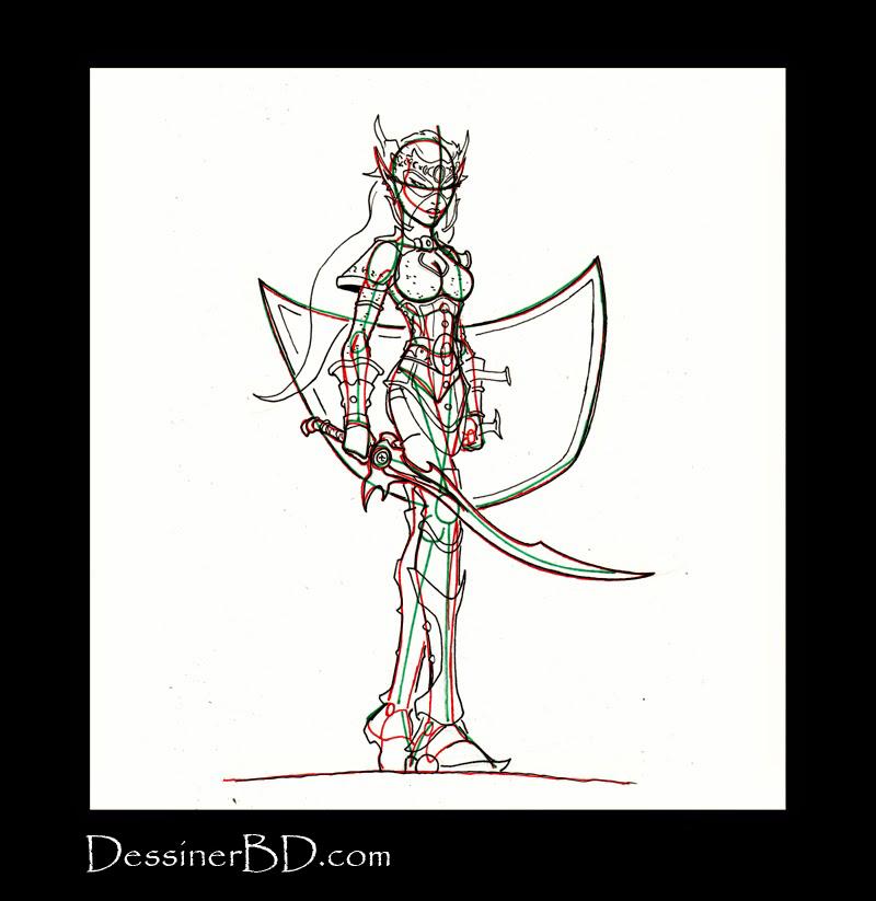 comment dessiner guerrière elfe noire armure
