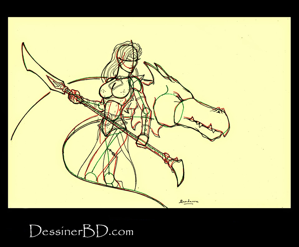 armure et details dessiner une guerrière et dragon