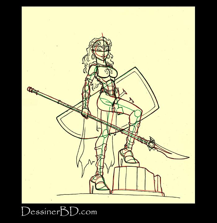 dessin armure et détails amazone guerrière