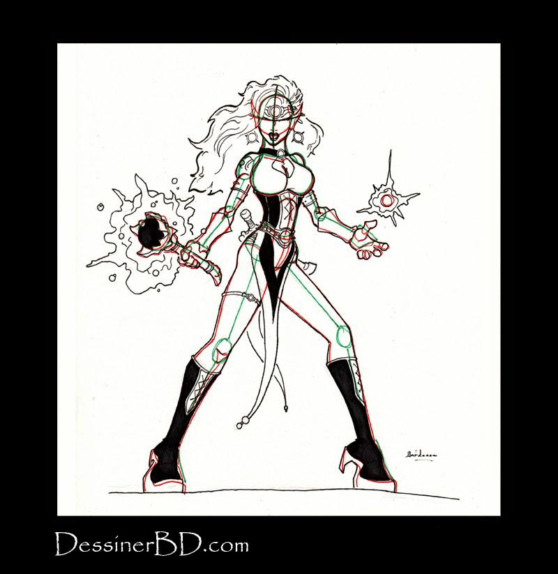 dessiner sorcière elfe noire détails