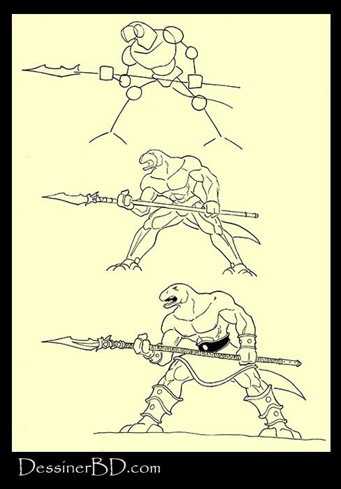 apprendre à dessiner homme-lézard avec lance