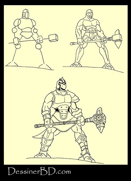 apprendre à dessiner homme-lézard avec marteau
