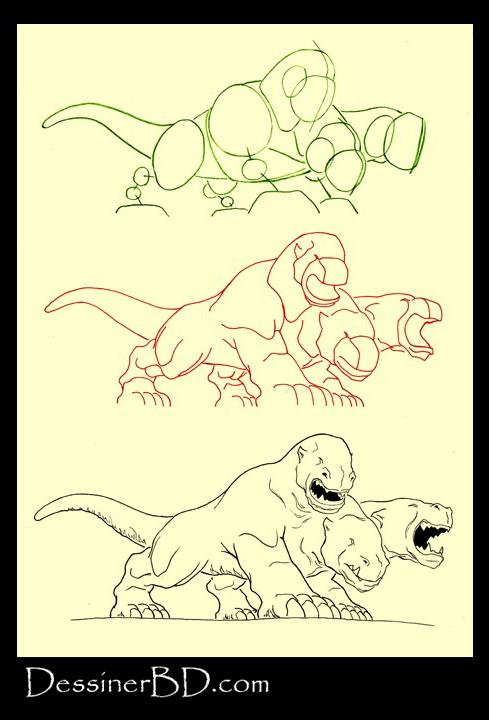 apprendre à dessiner le Cerbère