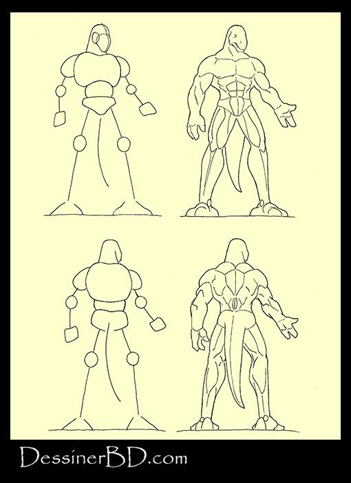 apprendre à dessiner muscles anatomie hommes-lézards
