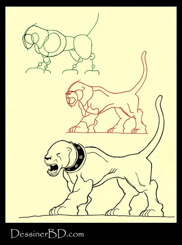 apprendre à dessiner un chien noir hellhound