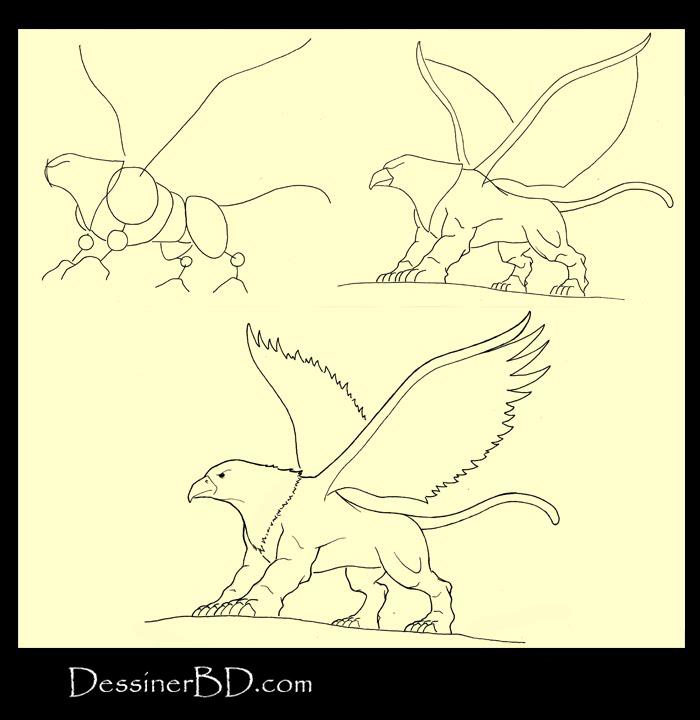apprendre à dessiner un griffon A