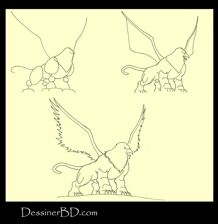 apprendre à dessiner un griffon B
