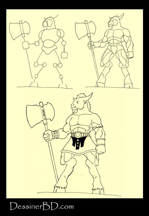 apprendre à dessiner un minotaure A