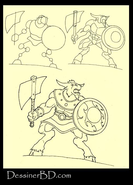 apprendre à dessiner le minotaure B