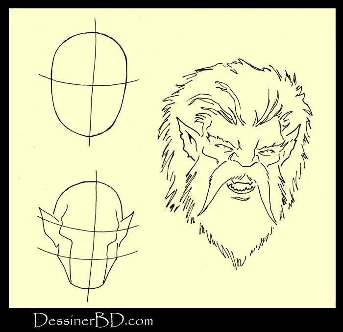 apprendre à dessiner visage manticore