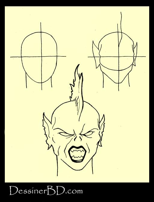 apprendre à dessiner visage harpie A