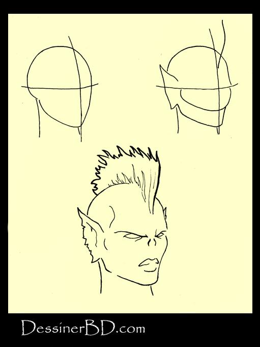 apprendre à dessiner visage harpie B