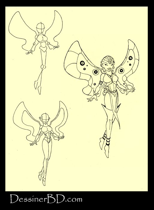 apprendre à dessiner fée par étapes