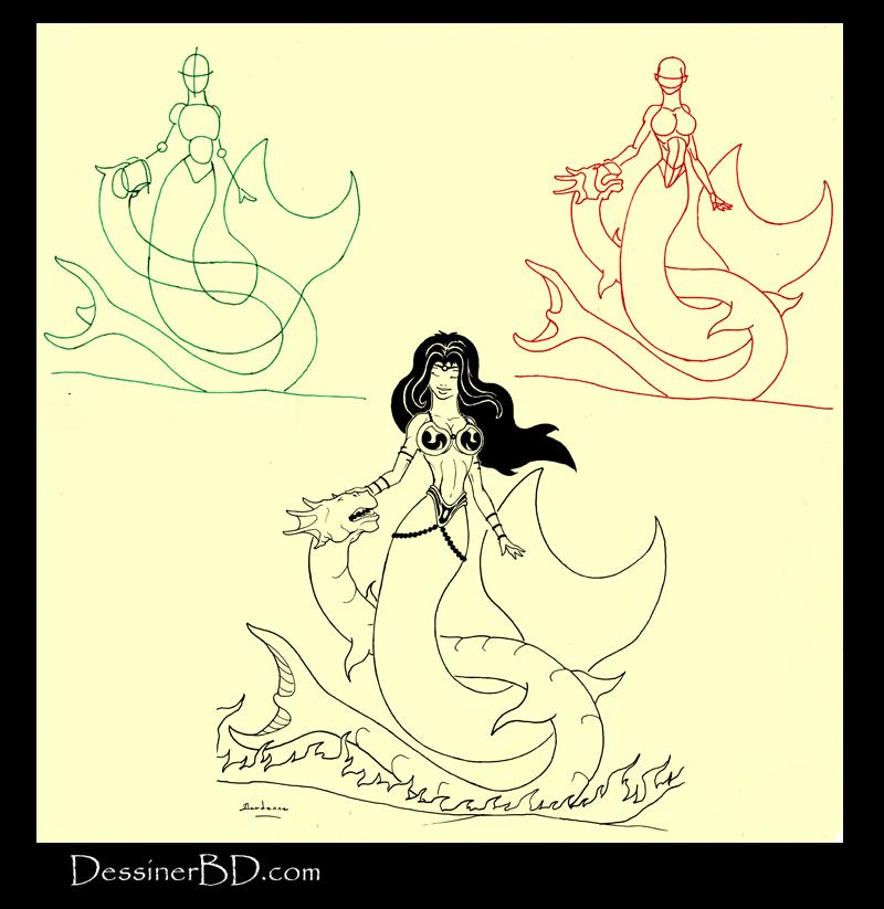 apprendre à dessiner une sirène et dragon des mers