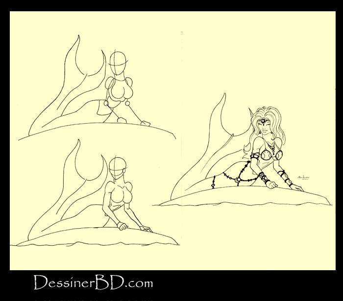 apprendre à dessiner une sirène sur rocher