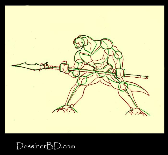 dessiner anatomie homme-lézard avec lance