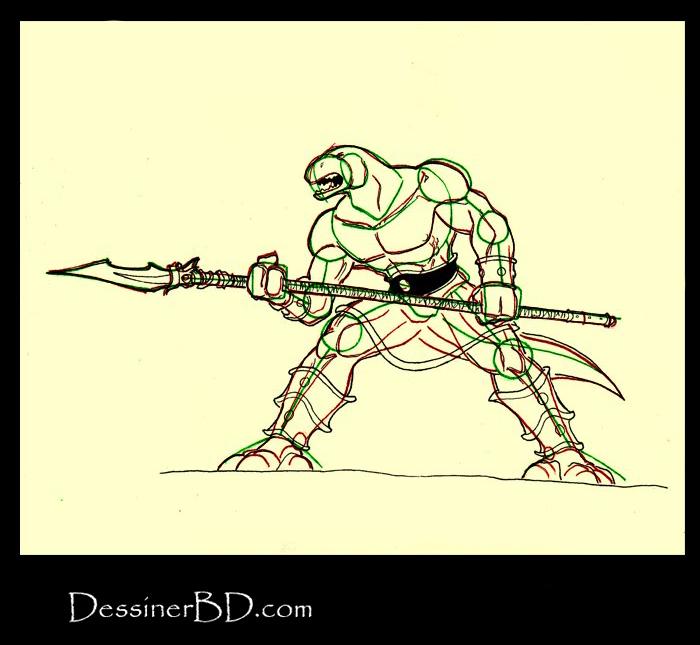 dessiner détails homme-lézard avec lance