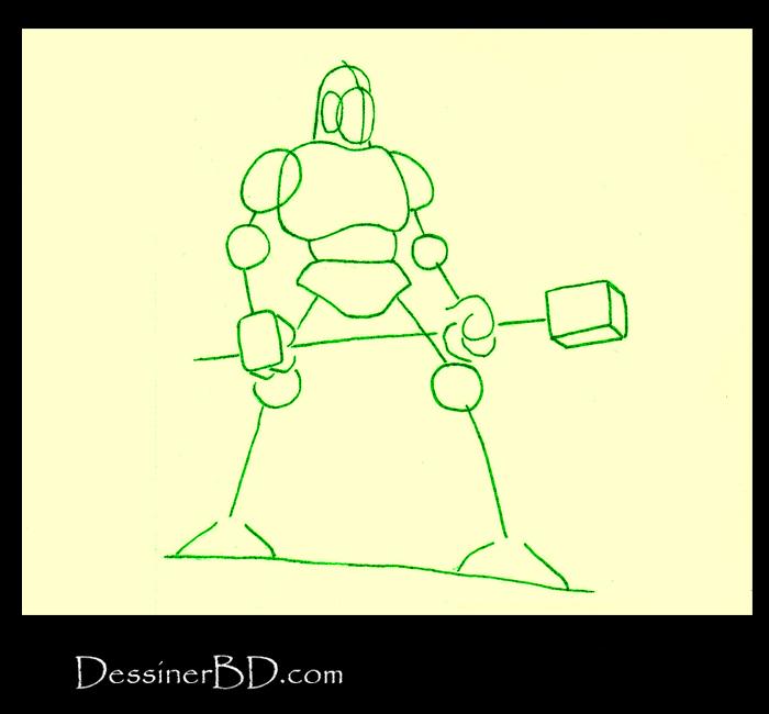 dessiner formes homme-lézard avec marteau
