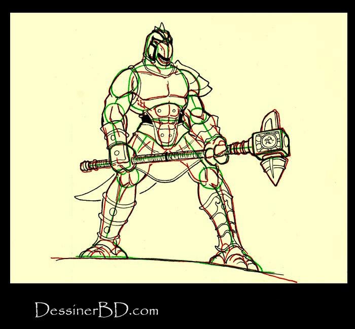 dessiner détails homme-lézard avec marteau