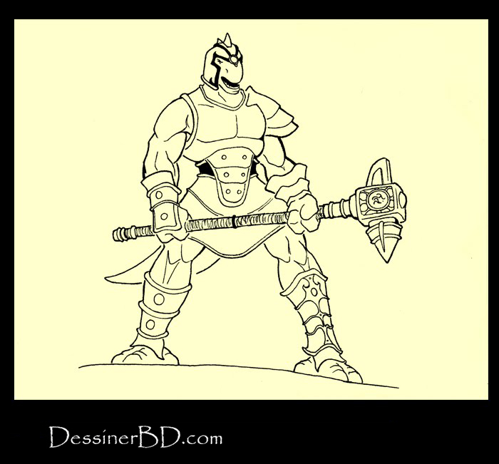encrer homme-lézard avec marteau