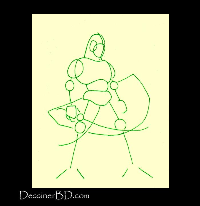 dessiner formes homme-lézard