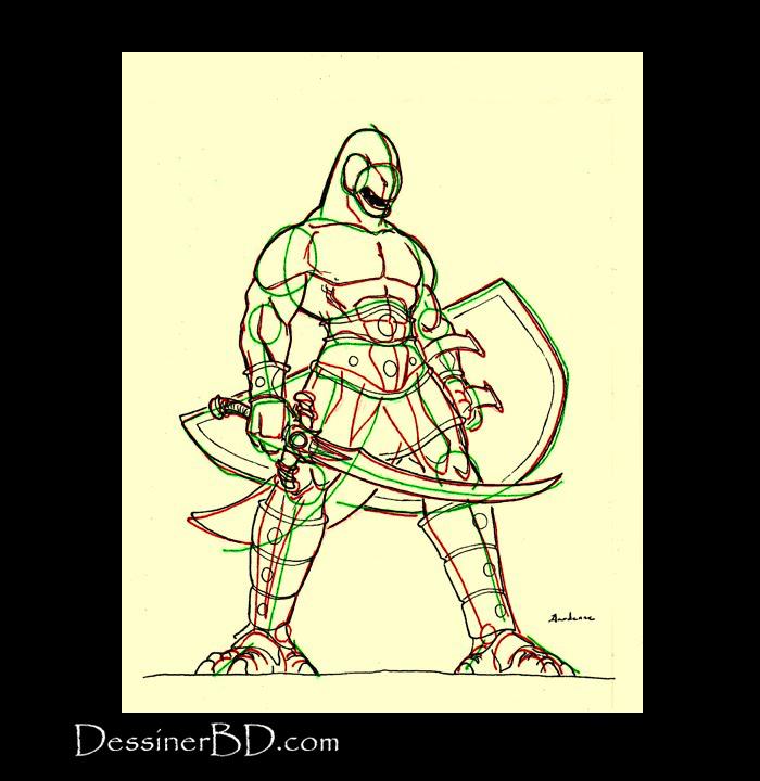 dessiner détails homme-lézard
