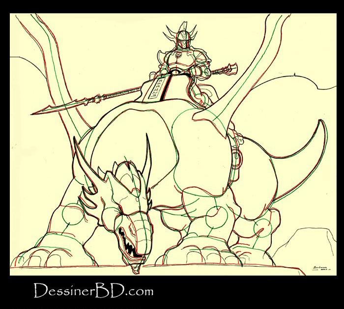 dessiner détails dragonnier et dragon