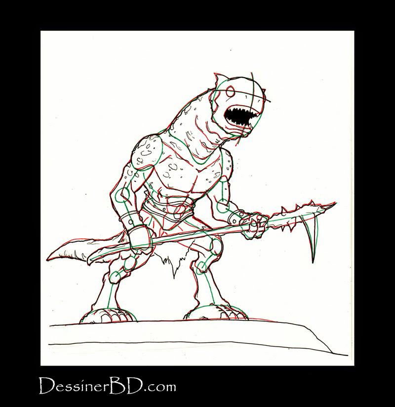dessiner détails monstre des cavernes