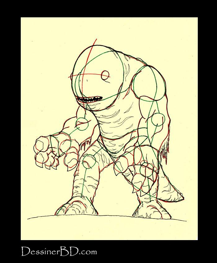 dessiner détails monstre des marais