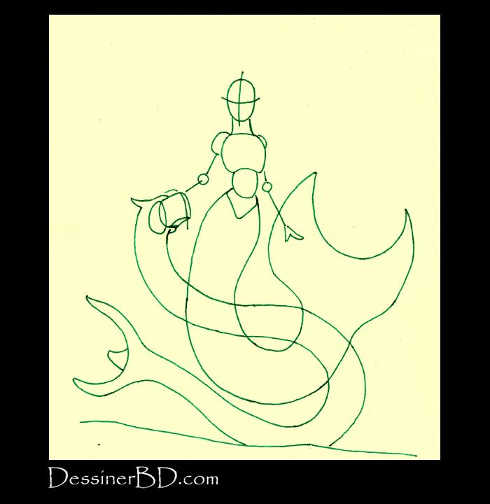 dessiner formes sirène et dragon des mers