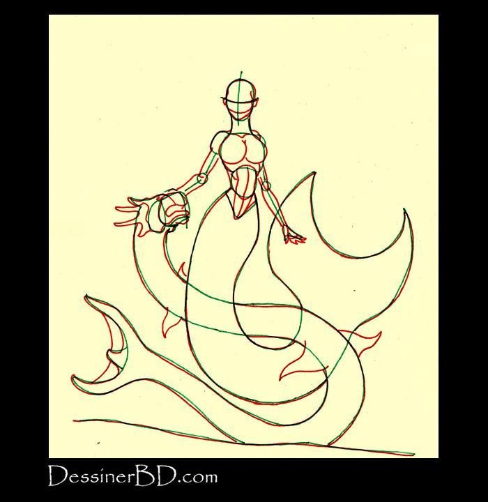 dessiner anatomie sirène et dragon des mers