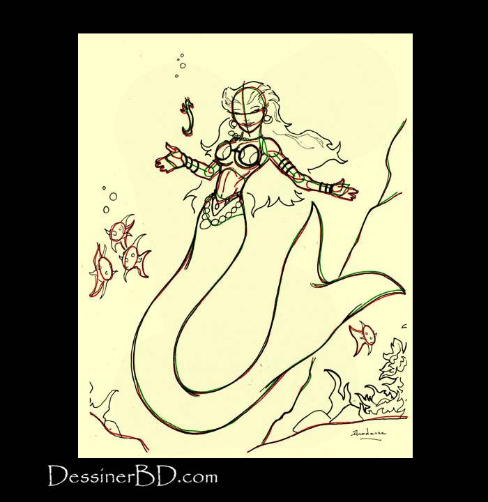 comment dessiner détails sirène et hippocampe